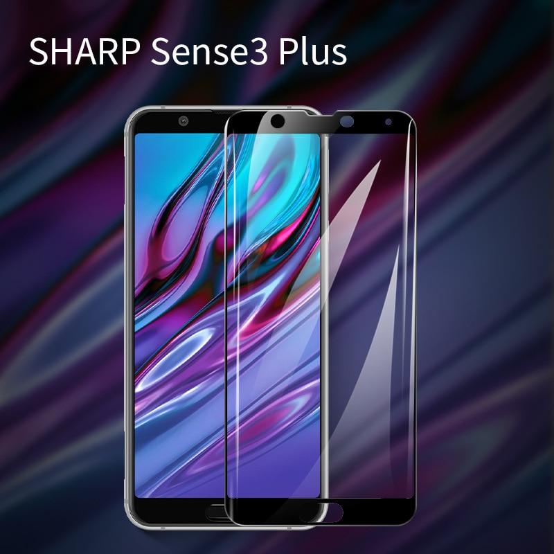 Tempered Glass For Sharp Aquos Sense 3 Lite Black 3D Full Cover Protective Glas Screen Protector For Sense 3 Sense3 Plus