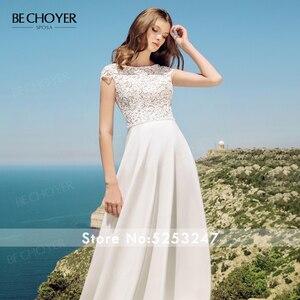 Image 3 - Женское свадебное платье трапеция BECHOYER, элегантное кружевное платье трапеция с круглым вырезом и рукавами крылышками, с прозрачным поясом, модель 2020, AB41