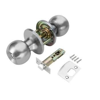 цена на Durable Spherical Stainless Steel Door Handle Knob Latch Set Round Door Knobs Rotation Lock With Key for Living Room Bathroom