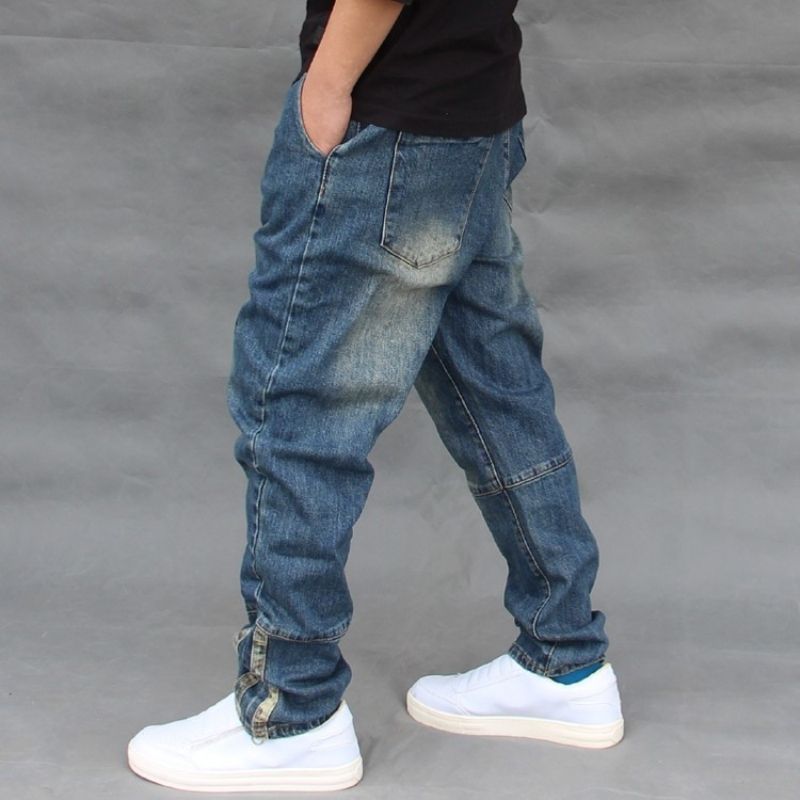 Mens Summer Denim Harem Loose Plus Size Hip Hop Streetwear Zipper Jeans Fashion Baggy Jogger Trousers Elastic Pencil Pants