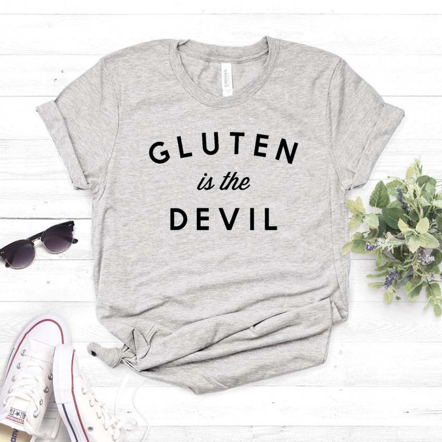 Gluten Is The Devil Print Women Tshirt Cotton Casual Funny T Shirt For Yong Lady Girl Top Tee Hipster Drop Ship NA-365