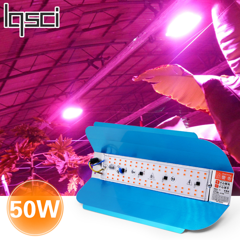 Lqsci 50W LED Plant Growth Lamp AC 220V Plant Floodlight Greenhouse Plant Hydroponic Plant Spotlight