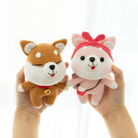 2PCS combination 2019 cute 100% hand knitted crochet wool couple dog doll child baby best gift toy accessories (finished product