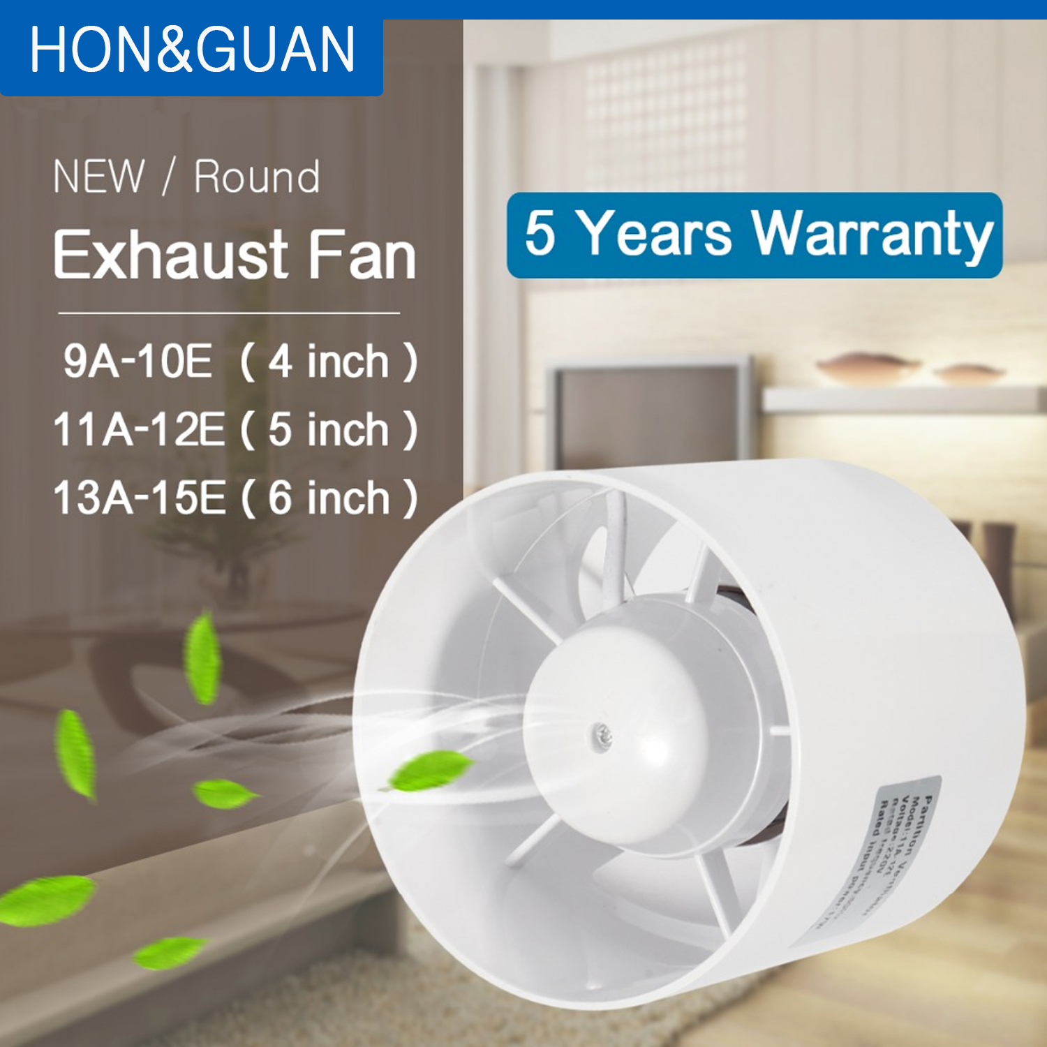 ABS Round Duct Fan Booster Exhaust Ventilator Ventilation Vent Air 4'' 5'' 6'' For Window Wall Bathroom Toilet Kitchen 220V 110V