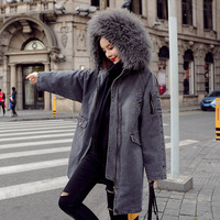 Large Size Cotton Denim Coat Autumn and Winter Women Loose Thick Big Sheep Fur Collar Hooded Mid long Denim Jacket NS1564