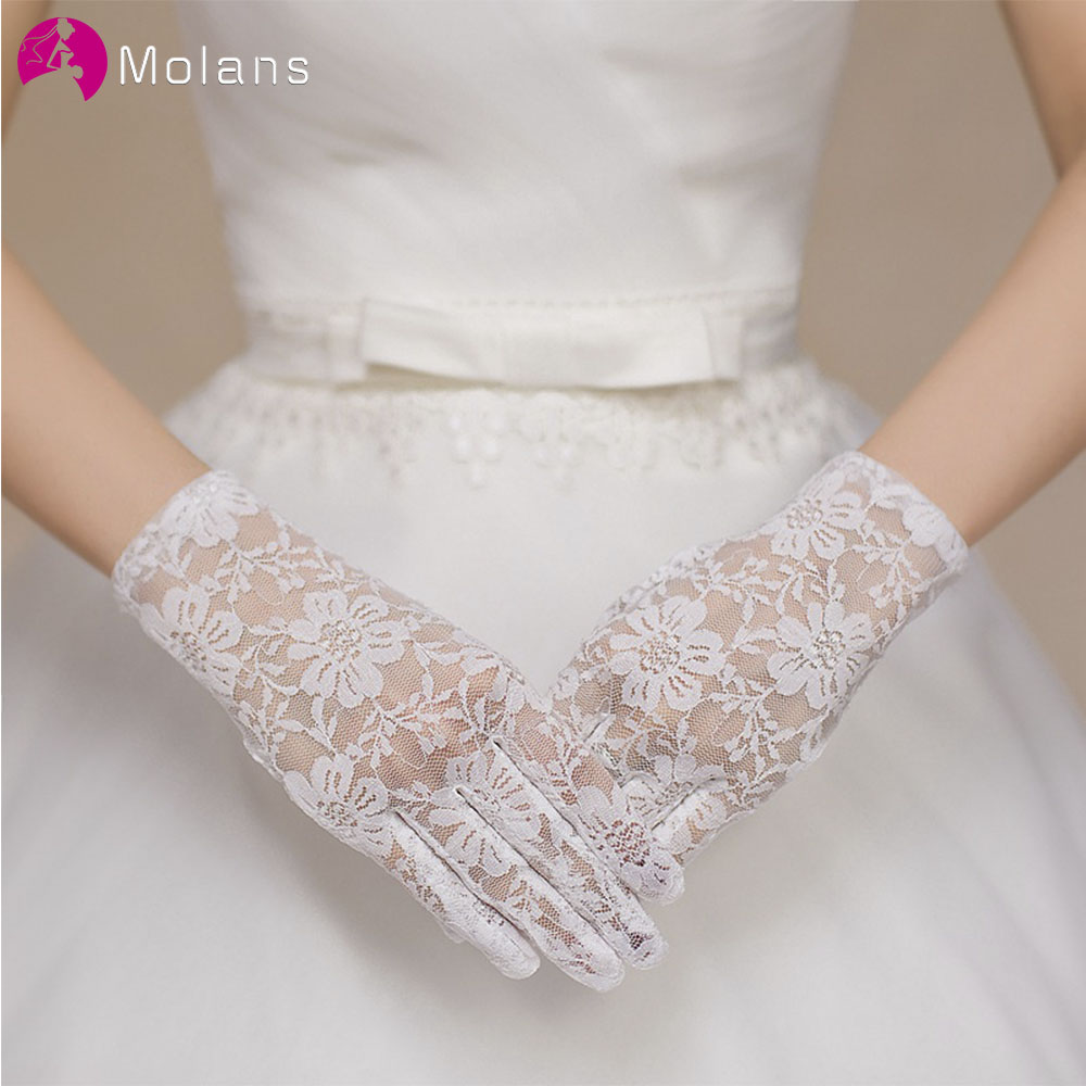 Molans 1 Pair Of Short Lace Gloves UV Protection Full Finger Gloves Outdoor Driving Gloves Prom Party Driving Wedding Gloves