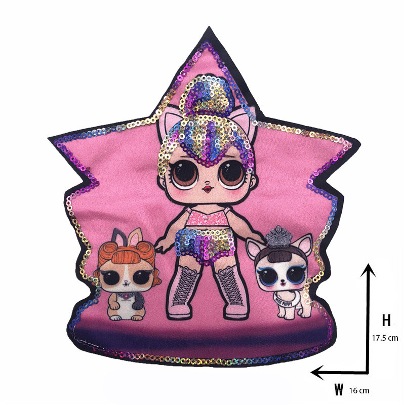 Мультяшные нашивки женские модные куклы лол для девочек Милая Модная Кукла-мальчик вышивка на одежду ручная работа украшение одежды Блестки Ткань - Цвет: new Xx-6