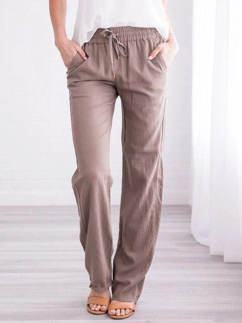 Summer Women's Cotton Linen Drawstring Loose Wide-Leg Pants Hot Sale Long Trousers With Pocket WDC4496 4
