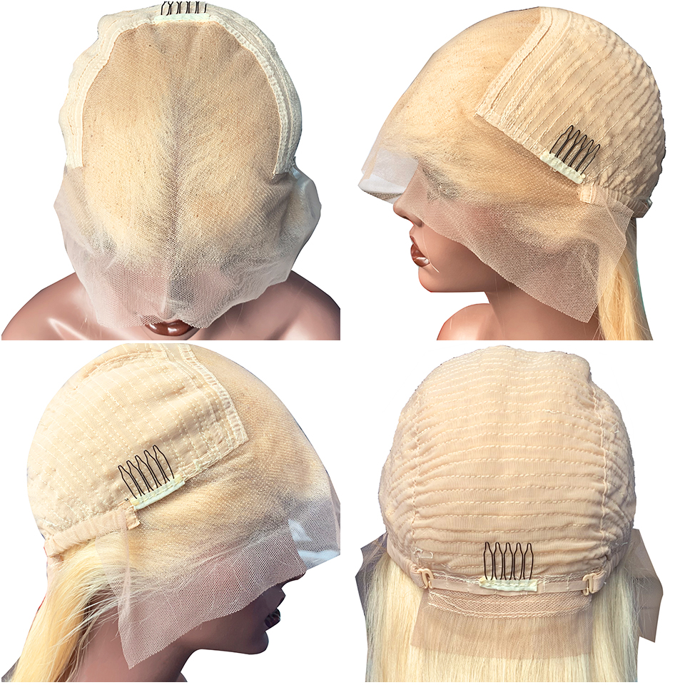 613-Blonde-Lace-Front-Wig-Straight-Transparent-Lace-Human-Hair-Wigs-180-Density-Remy-Short-Bob