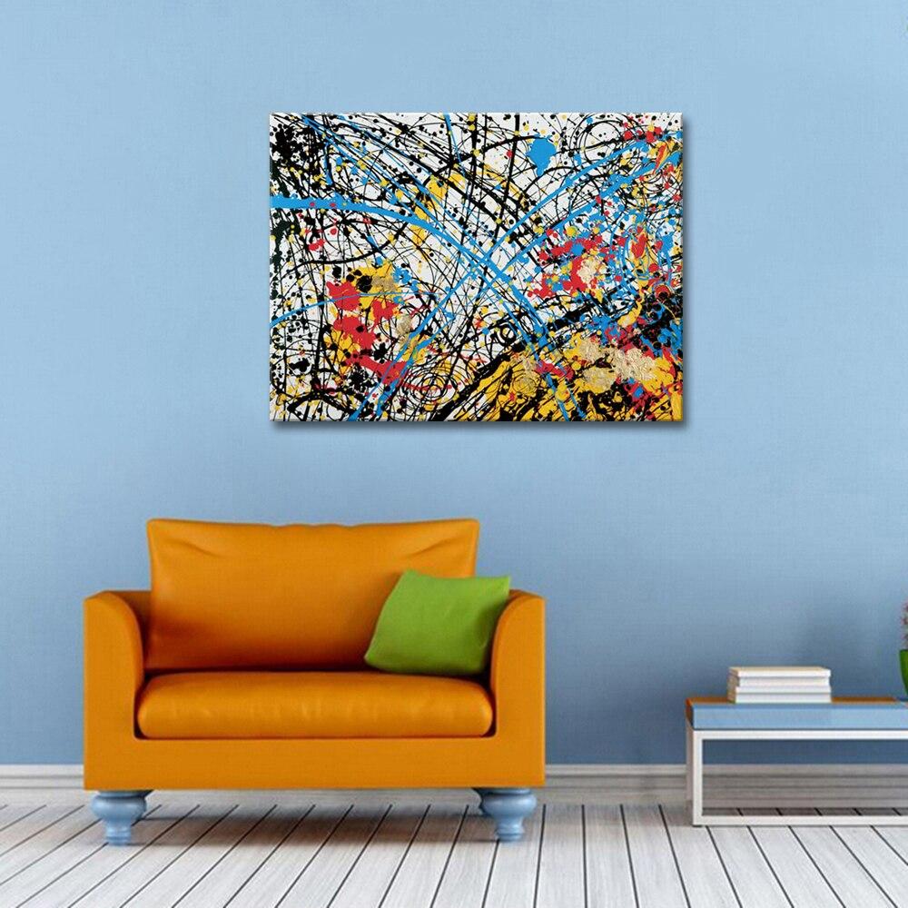 Ручная роспись абстрактные картины маслом на холсте красный черный желтый синий украшение дома Современная Настенная живопись 80X100 см