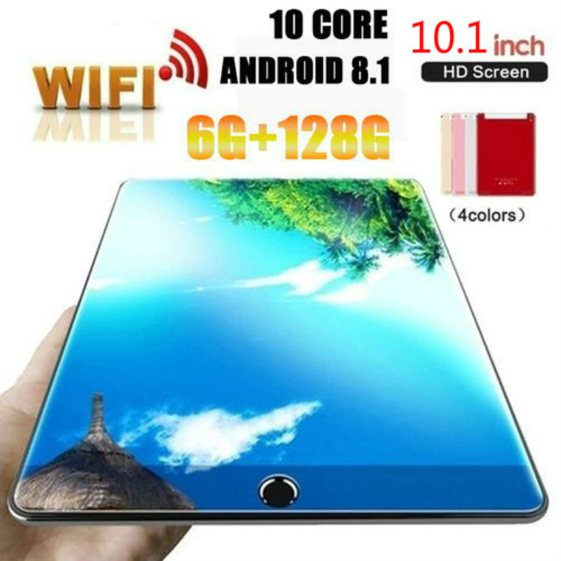 10.1 Inch Ten Core 6G+128G Arge Android 8.1 WiFi Tablet PC Dual  SIM Dual Camera  4G WiFi Call Phone Tablet Gifts