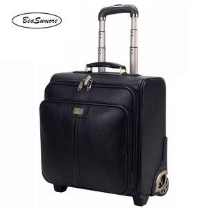 Image 4 - BeaSumore мужской деловой багаж из натуральной кожи, 20/24 дюйма, ретро чемоданы на колесах из воловьей кожи, 16 дюймовая тележка с паролем для салона