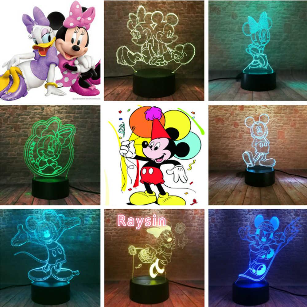 Topolino e Minnie Mouse Figurine Fata Luce 3D Dei Bambini Del Fumetto di Notte Della Lampada Perfetto Dolce 7 Colori Cambiano Delle Ragazze Dei Ragazzi In Camera decor