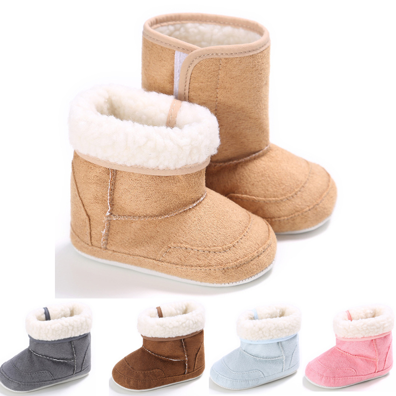 New Warm Winter Newborn Baby Girls Boys First Walkers Shoes Infant Toddler Soft Rubber Soled Anti-slip Snow Boots Booties