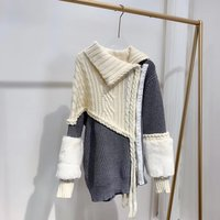 Hand knitted Knit Sweater Cardigan Womens Sweaters Winter Irregular Collar Colorblock Coat Cuff Fur Decoration Knitted Sweater