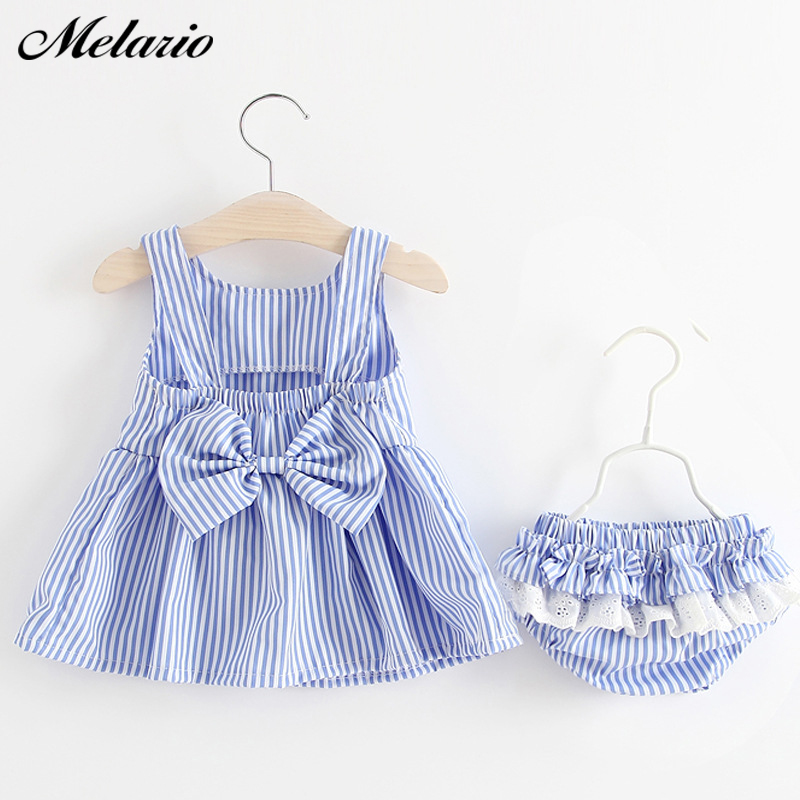 Melario Baby Clothing Sets 2020 Summer Sleeveless Dress Girls Three Piece Sets Short Pants+Dress Set Stripe Patten For Baby 6-24