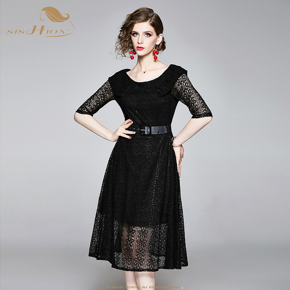 SISHION Lace dress 2019 new one shoulder dress fairy sweet small fragrance lady temperament Dress SP0465