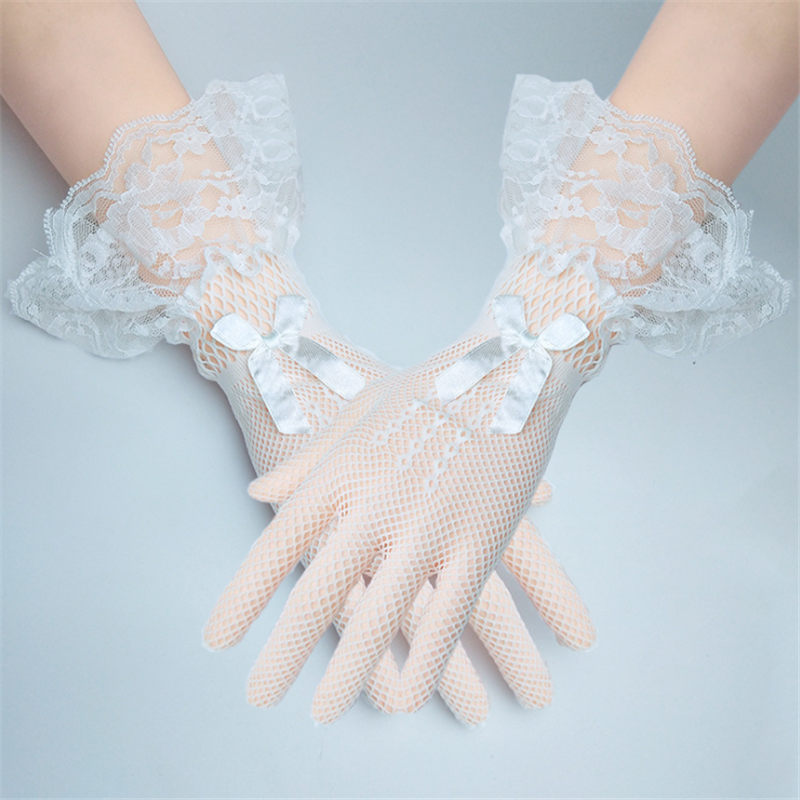 1 Pair Girls Kids White Beige Black Lace Faux Pearl Fishnet Gloves Communion Flower Girl Bride Party Ceremony Accessories