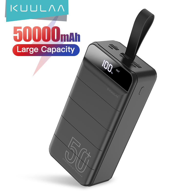 KUULAA Banco de la energía 50000 mAh de carga portátil banco de energía 50000 mAh USB PoverBank cargador de batería externo para Xiaomi Mi iPhone 9 8 Cargador portátil    -