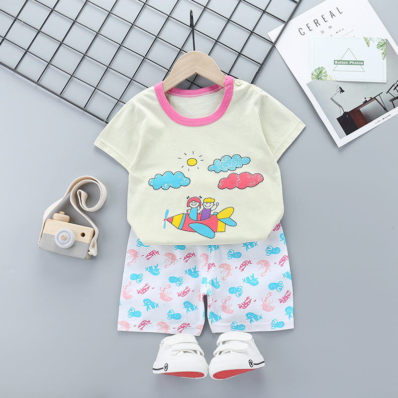 2020 Baby Girls Clothes Sets Summer Cloud Printed Girl Short Sleeve Tops Shirts + Shorts Casual Kids Children's Clothing Suit