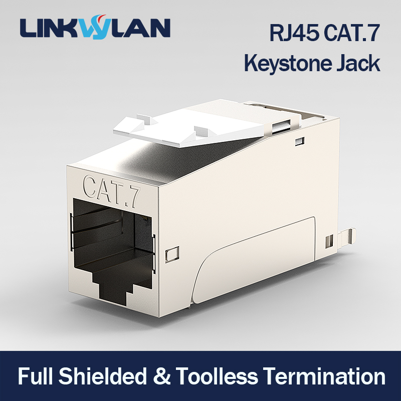 Premium Quality - CAT7 Full Shielded Keystone Jack RJ45 to LSA Tool-free Connection Compatible for Cat6A Cat 6 Systems