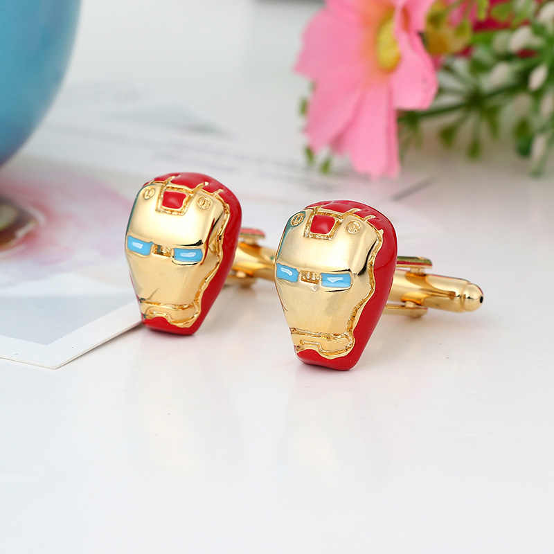 Fashion Iron Man Kancing Manset untuk Pria Ironman Perhiasan Film Avengers 3 Infinity Perang Manset Link Bahasa Perancis Kemeja Lengan Tombol Hadiah