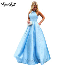 Real Rill Sleeveless Halter Prom Dress Satin Beaded Lace Up Back Floor Length Ball Gown A Line Party