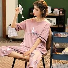 M 5XL Cotton Women Pajamas Sets Cute Animal Girls Sleepwear Womens Pijamas Suit Home Clothes Larger Pyjama Femme