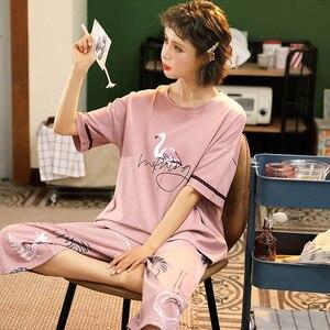 Image 1 - M 5XL Cotton Women Pajamas Sets Cute Animal Girls Sleepwear Womens Pijamas Suit Home Clothes Larger Pyjama Femme
