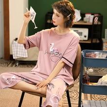 M 5XL bawełna kobiety piżamy zestawy śliczne zwierząt dziewczyny piżamy damskie Pijamas garnitur ubrania domowe większe piżamy Femme