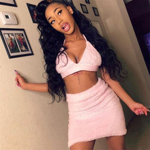 Cute Pink Fluffy Faux Fur Two Piece Set Women Sexy Crop Top Bodycon Mini Skirts Party Night Club 2 Piece Outfits Matching Sets