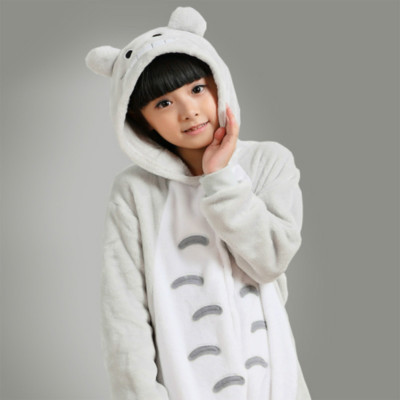 Winter Thick Totoro One-piece Pajama Cartoon Animal Cute Men And Women Baby Long Sleeve Flannel Toilet Edition Home Wear