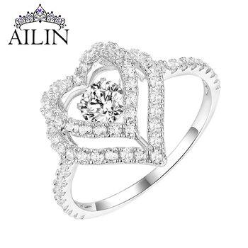 Anillo de oro Blanco sólido de 10K/14K18K de AILIN para mujer, anillos de boda con corazón personalizados con piedra de baile, joyería de compromiso personalizada