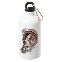 Russia Ussr First World Soviet Cosmonaut Gagarin Sport Water Bottle With Carabiner Gifts 17oz