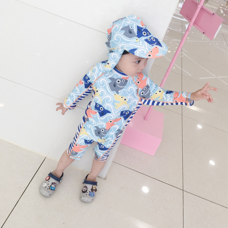 South Korea Sun-resistant Quick-Dry Long Sleeve Baby KID'S Swimwear BOY'S Cute Shark Set Warm Surfing Jumpsuit Fashion