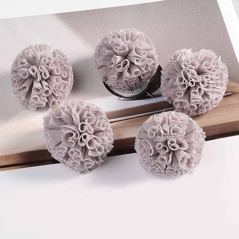 DIY 5Pcs 40Mm Renda Bola DIY Kasa Elastis Bunga Pompom Kerajinan Mewah Mesh Liontin untuk Kepala Rambut Pernikahan gaun Menjahit Aksesoris