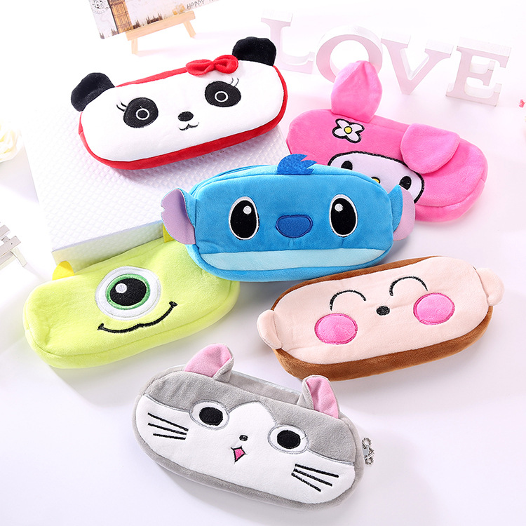 Plush Animal Pencil Case Cartoon Panda Bear Fruit Pen Bag Box For Kids Gift Cosmetic Stationery Pouch School Supplies Zakka