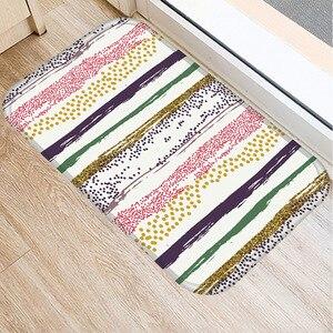 Image 2 - 40 * 60cm Stripe Paint Floor Mat Non slip Suede Carpet Door Mat Kitchen Living Room Floor Mat Home Bedroom Decorative Floor Mat.