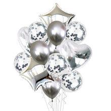 14 pçs/set Ouro Prata Conjunto Estrela da Forma Do Coração Balões De Látex Claras Confete Foil Birthday Party Balloon Decoração Crianças Xmas Favor