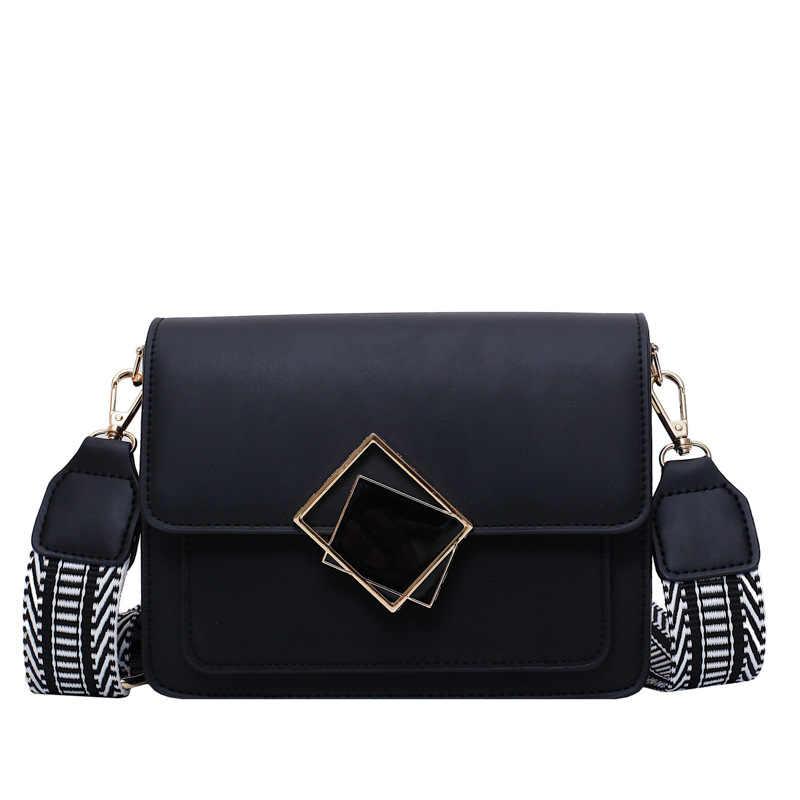 حقيبة يد نسائية فاخرة لعام 2020 حقيبة كروس صغيرة بسيطة للنساء من الجلد حقيبة كتف واحدة بحزام عريض بقفل خاص حقائب يد مصممة