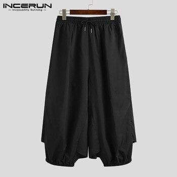 Pantalones de moda para Hombre, faldas, Color sólido, con cordón, Punk, informal, elegante, suelto, para correr, 5XL, INCERUN