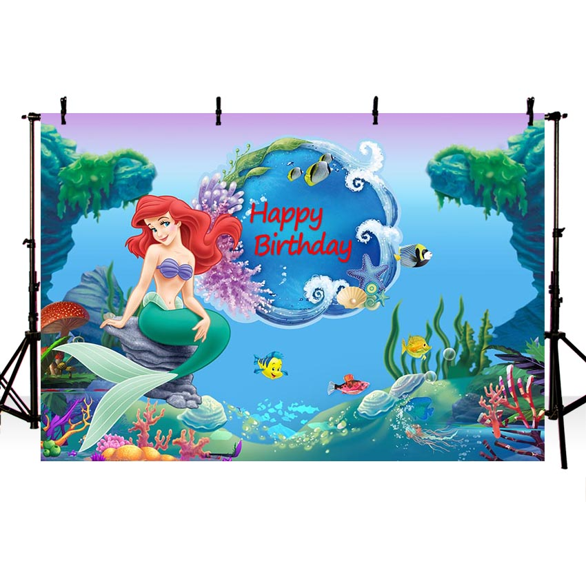 Little Mermaid Under Sea Bed Caslte Corals Ariel Princess Photography Backdrop Cartoon Baby Party Birthday Photo Background