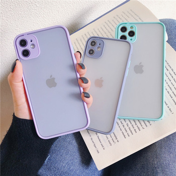 12 Pro Max Shockproof Silicone Protection Phone Case on For iPhone Xr Xs Max X SE 2020 10 8 7 6 Plus Candy Color Back Cover Gift image