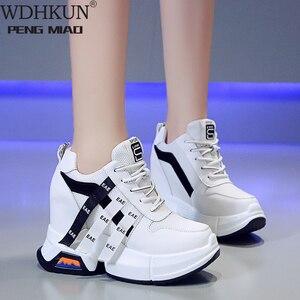 Tênis feminino wdhkun, sapato feminino robusto plataforma, calçado escondido vulcanizado, moda outono 2020