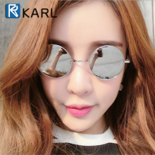 Retro Women Round Sunglasses Fashion Men Polarized Driving Glasses KARL Brand Designer Metal Frame Black