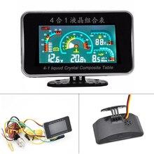 Digitale Lcd Auto Gauge 4 In 1 Alarm Gauge Voltmeter Olie Druk Brandstof Water Temperatuurmeter Met Sensoren Spanning Voor auto Vrachtwagen