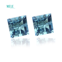 Natural Topaz Square simple style 18K gold Ear Studs
