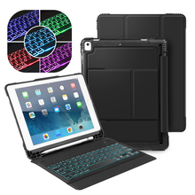 5 Color Backlit Bluetooth Keyboard Case for iPad Air 1/2 Pro 9.7 iPad 2017/2018 5th 6th Gen Detachable Smart Cover Keyboard Case detachable keyboard case smart cover for ipad 9 7 2017 2018 pro air 2 1 3 in 1 functionality keyboard with protective case a30