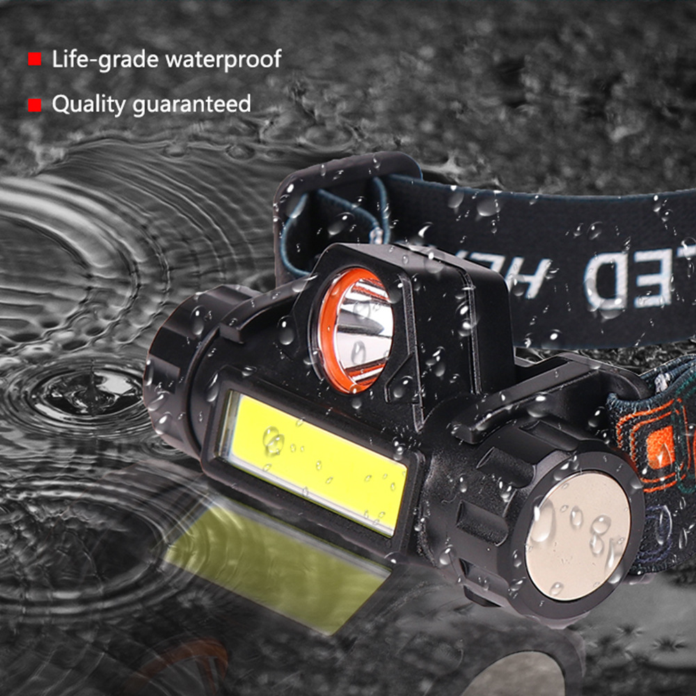 XP-G Q5 Headlamp Head Lamp Headlight Waterproof 2500lm Cob Led Built In Usb Rechargeable 18650 Battery Working Light 5w