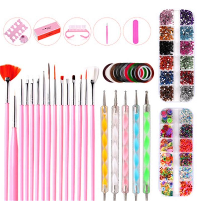 kit de manicure unhas conjunto de arte do prego caneta pintura ponto arquivo strass acessorios frete